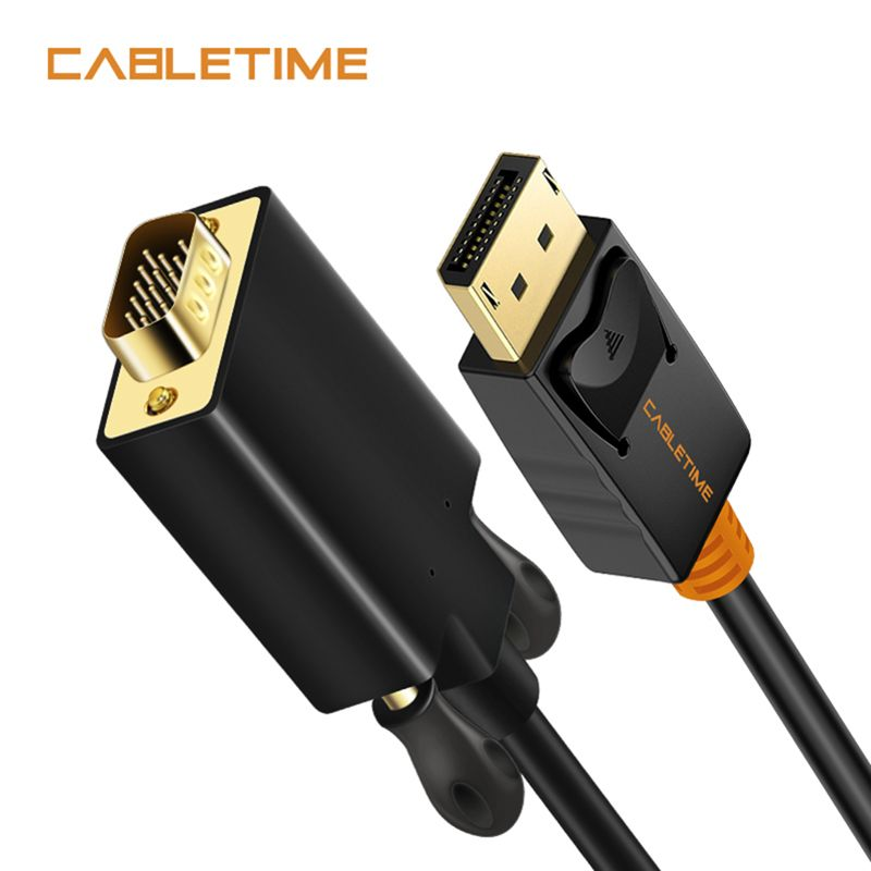 Cabletime DisplayPort To VGA Cable DP To VGA Converter Displayport VGA Cable Gold for Macbook Projector laptop Camara HDTV N041