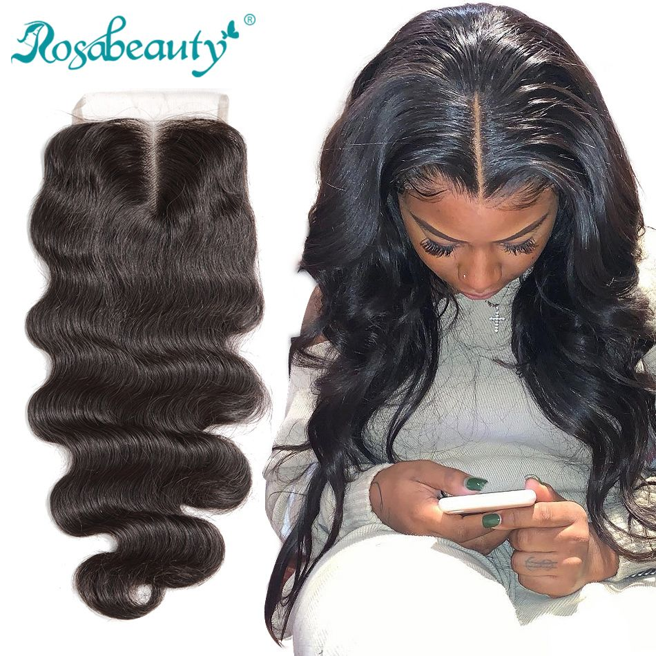 "Rosabeauty 8""-20"" Natural Color Body Wave Peruvian Human Virgin Hair Lace Closure Middle/Free/3 Part With Bleached Knots"