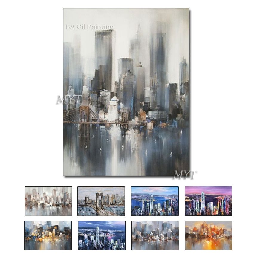 Professional Manufacturer Decoration Handmade Abstract Modern Landscape Building Oil Painting On Canvas large canvas wall art
