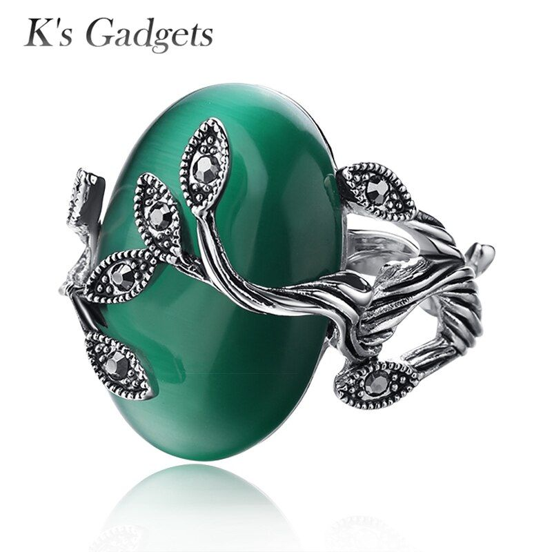K's Gadgets Carved Ring Antique Silver Plate Natural Green opal Jewelry Vintage Retro Rings Zircon Big Stone Ring For Women