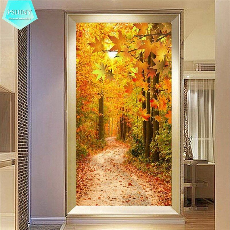 PSHINY 5D DIY Diamond painting Maple Leaf Landscape Pictures full display Square rhinestones Diamond embroidery sale new arrival