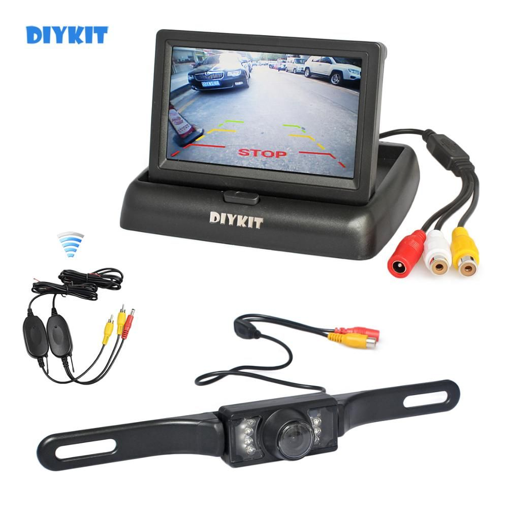 "DIYKIT Wireless 4.3"" Car Reversing Camera Kit Back Up Car Monitor LCD Display HD Car Rear View Camera Parking System"