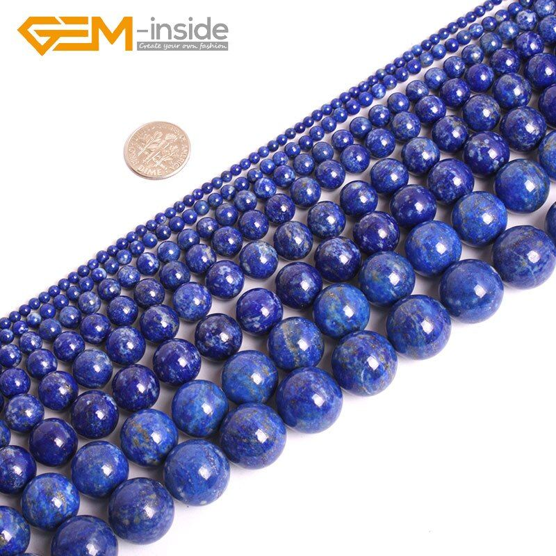 Natural Stone High Quality Round Lapis Lazuli Stone Beads For Jewelry Making strand 15 inch Semi precious bracelet Necklace DIY