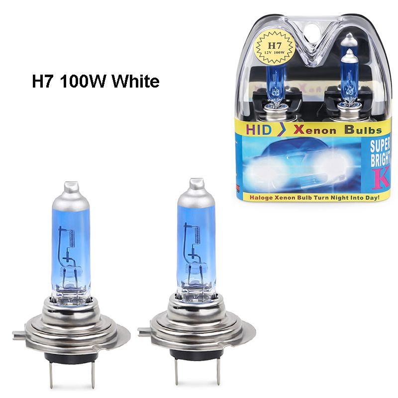 2PCS 12V H7 halogen 6000k white 100w headlights H7 100W fog halogen bulb car Light Source Bulbs Headlights Auto Lamp Parking
