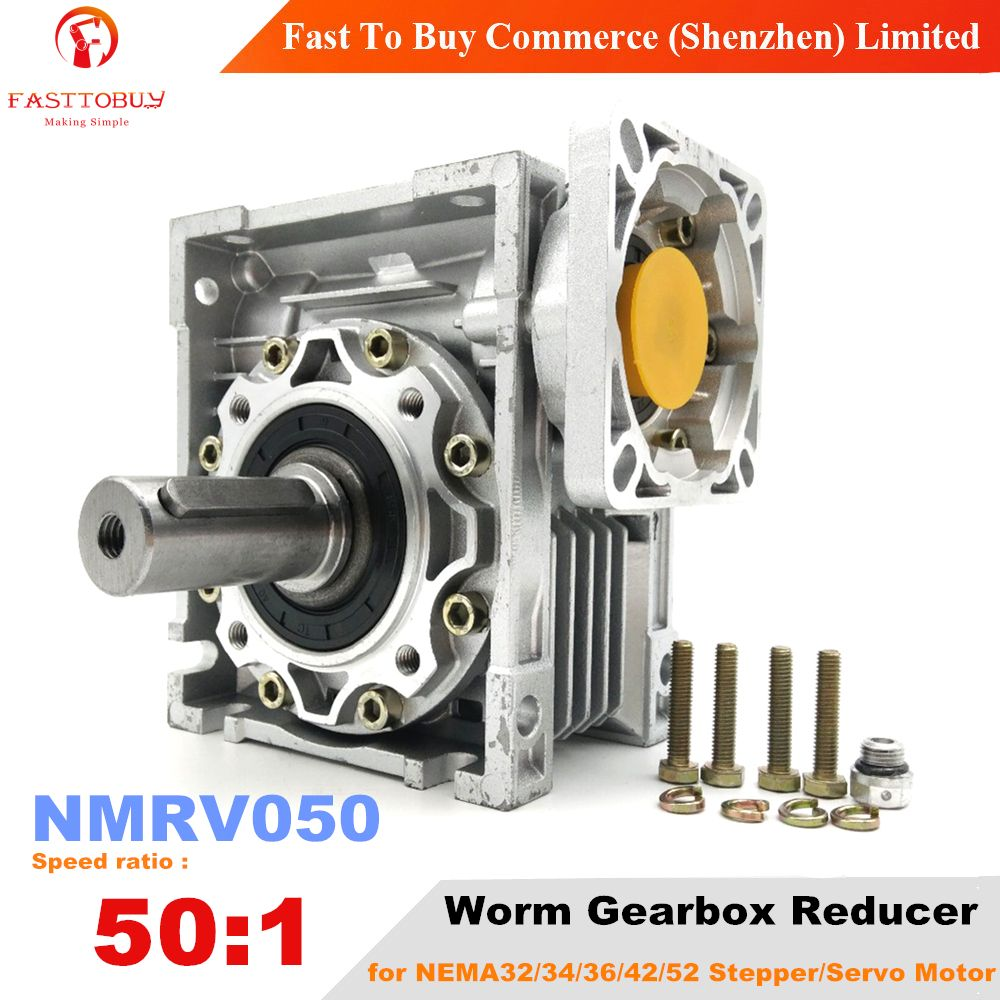 NMRV050 Speed Ratio 50:1 Worm Gearbox, Input Bore 14/19mm 90° Worm Gear Speed Reducer for NEMA42 Servo/Stepper Motor