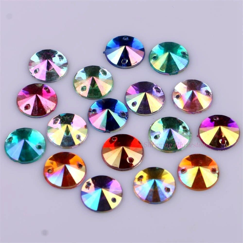 Mixed AB Colors 12mm Round Shape Rhinestones Two Holes Sew On Crystals Sew-on Rhinestone DIY Beads 10 colors Choice 50pcs/pack