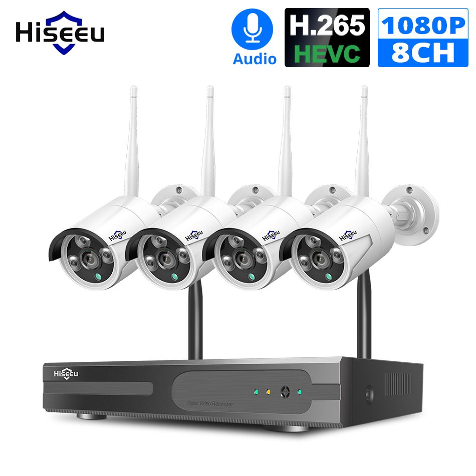 Hiseeu 8CH Wireless NVR Kit P2P 1080P Audio Home Security Waterproof Street IP Camera CCTV WIFI video surveillance System Kit