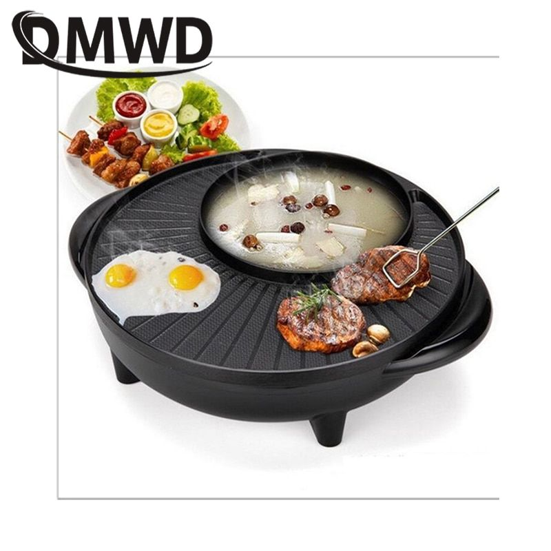 Multifunction Electric grill Griddle BBQ Machine shabu pot roast Meat baking pan barbecue iron fondue hot pot Grilling Roaster