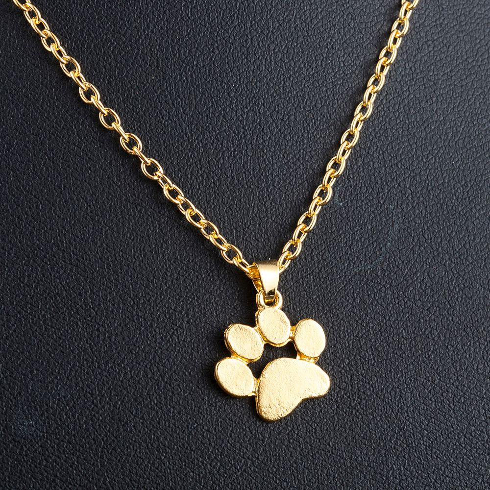 Fashion Cute Pets Dogs Footprints Paw Chain Pendant Necklace Necklaces & Pendants Jewelry for Women long silver gold necklace