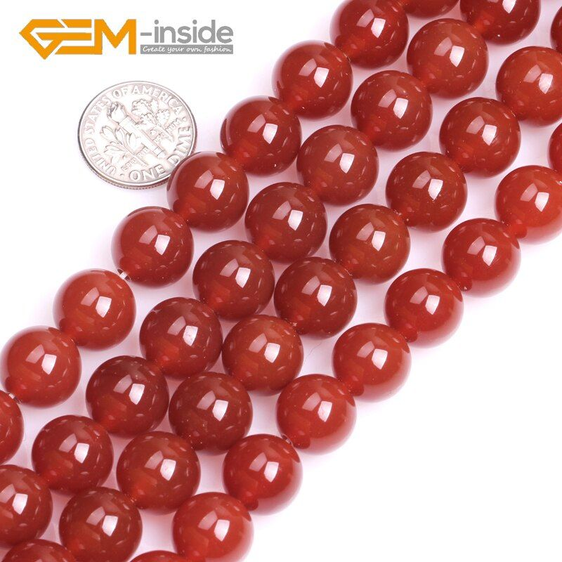 Natural Red Color Agates Stone Round Shape Smooth Loose Beads For Jewelry Making Strand DIY 15 Inches Wholesale New
