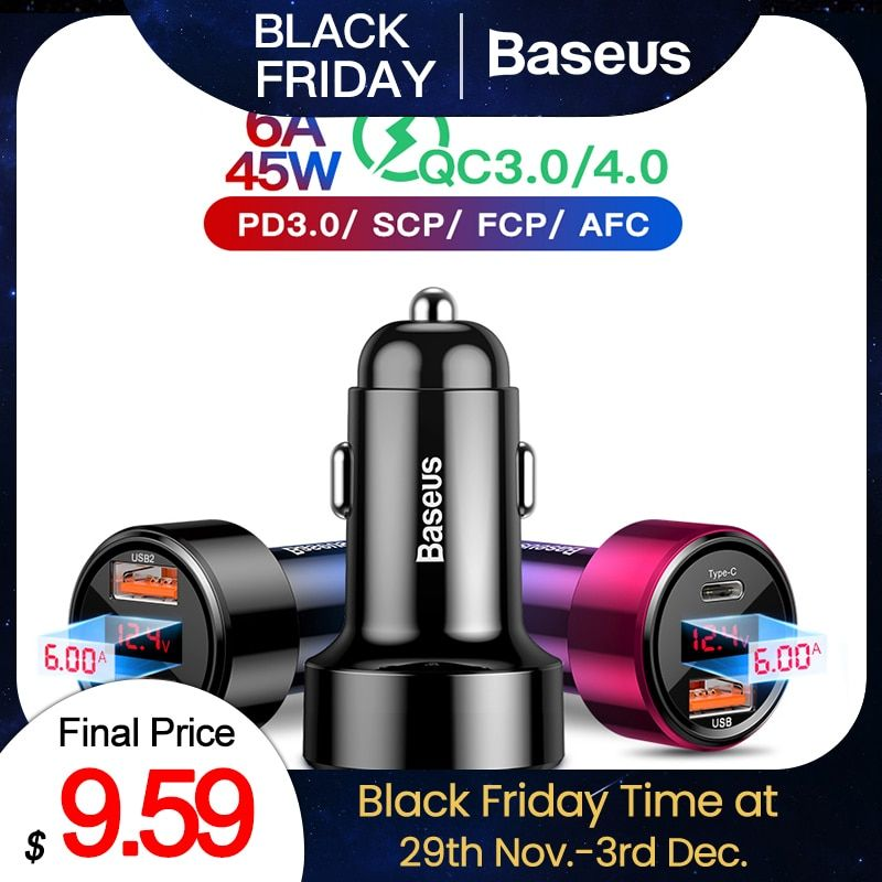 Baseus 45w Quick Charge 4.0 3.0 USB Car Charger For iPhone Xiaomi Samsung QC4.0 QC3.0 QC Type C PD Car Fast Mobile Phone Charger