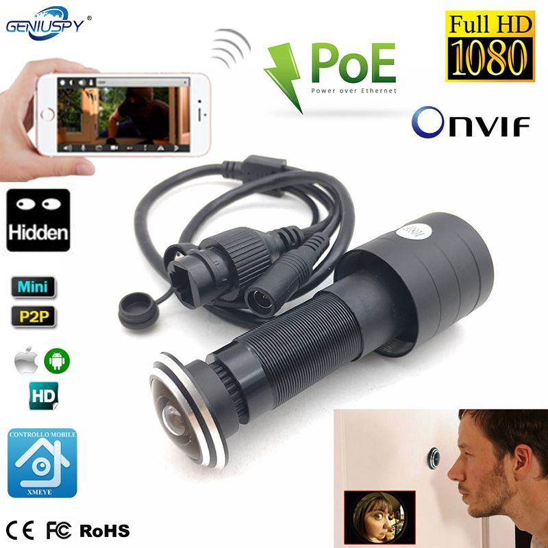 1080P HD Door Eye Hole H.265 1.78mm Lens Wide Angle 178Degree CCTV Network Mini Peephole POE Door IP Camera P2P Onvif Audio
