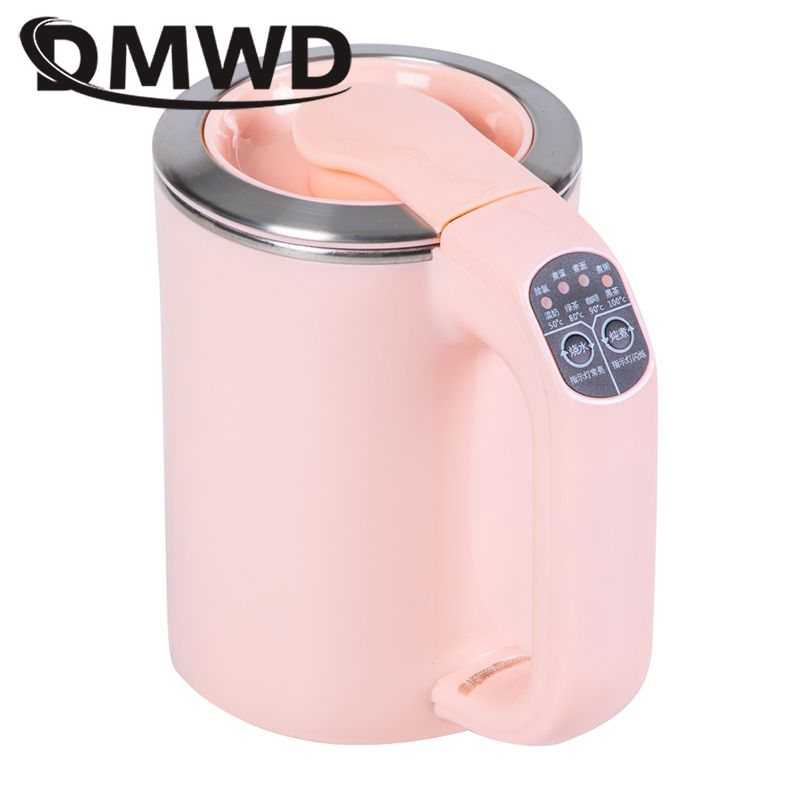 DMWD Travel Hot Water Heating Pot MINI Electric Kettle Porridge Noodle Cooker Cup Heater Stainless steel Teapot Boiler 110V-220V