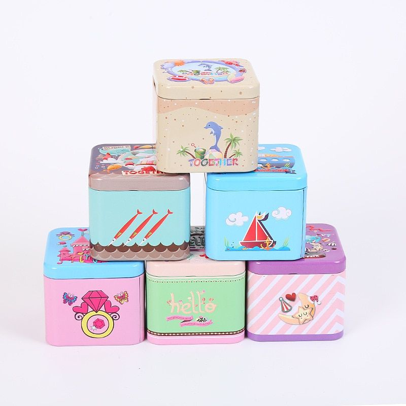 Free ship!1 lot=12pc!Nice cartoon square Iron box / food / tea / tin cans/gift metal case/storage wedding candy box