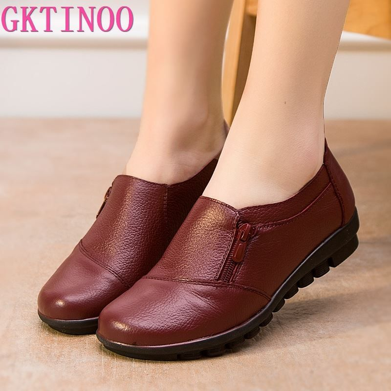 2019 New spring genuine leather flat heel women single shoes women's casual shoes female flats leisure shoes soft mother shoes