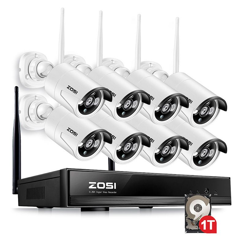 ZOSI 960P 8CH CCTV System 1080P NVR 1.3MP IR Outdoor P2P Wireless Wifi IP CCTV Camera Security System Surveillance Kit 1TB HDD