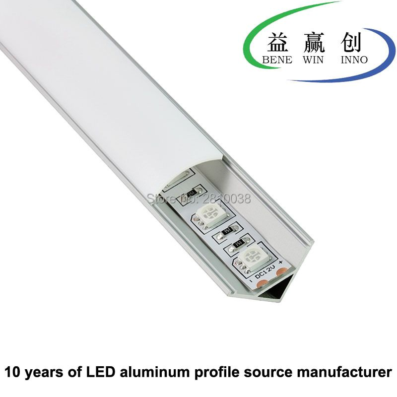 10 Sets/Lot 60 Degree cornered Aluminium led profile AL6063 Led aluminum profile for led strip light kitchen Cabinet