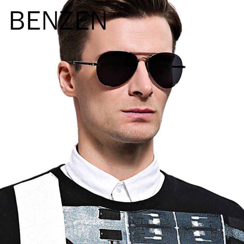 BENZEN Polarized Sunglasses Men Brand Designer Pilot Male Sun Glasses For Driving Vintage Eyewear Women Shades With Case 9091