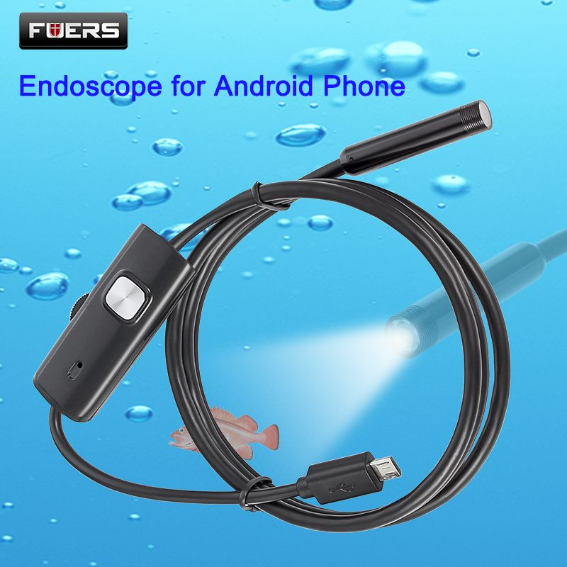FUERS 2M 1.5M 1M 5.5mm 7mm Endoscope for Android Phone USB Mini Camera Waterproof 6 LED Borescope Car Inspection Camera for PC