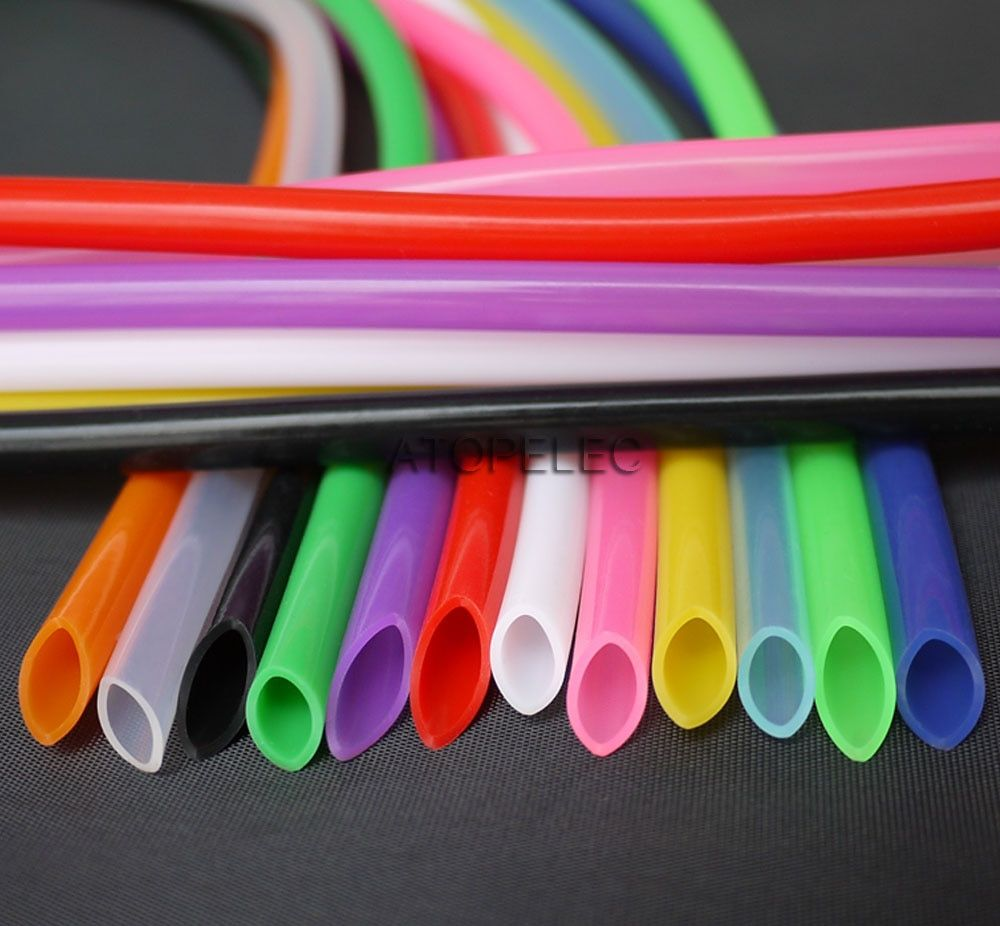 6*8 Flexible Soft Food Grade Silicone Hose Tube Pipe ID_6mm OD_8mm Black/Red/Yellow/Green/Blue/White/Clear 180Deg.C