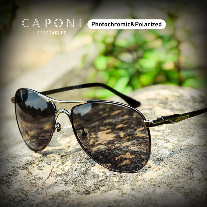 CAPONI Driving Photochromic High Quality Sunglasses Polarized Classic Brand Sun Glasses for Men oculos de sol masculino CP8722