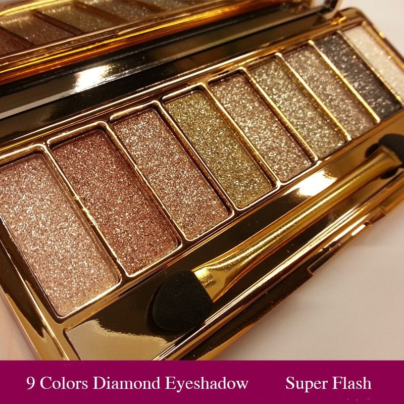 Professional Eye Shadow Pallete Makeup 9 Colors Diamond Bright Glitter Shiny Eyeshadow Make Up Palette Waterproof With Brush