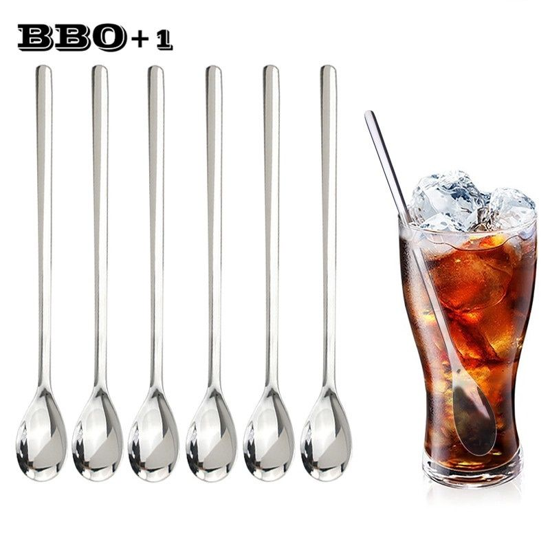 6pcs 9'' Serving Spoon Stainless Steel Spoon Long Handled Teaspoon Coffee Scoop Dessert Spoons Christmas Honey Fruit Juice