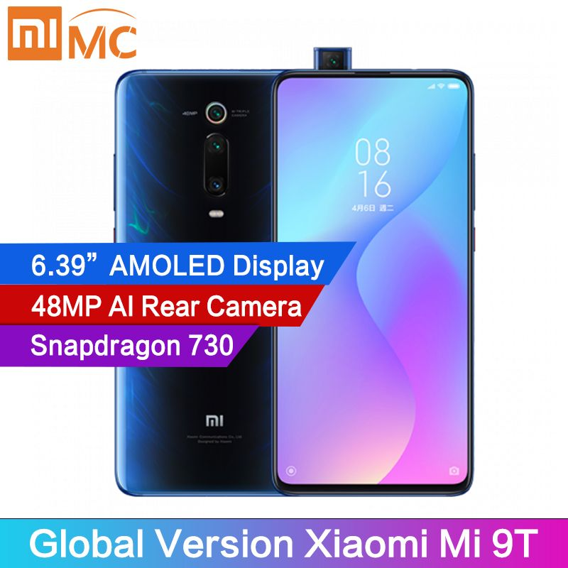 "Global Version Xiaomi Mi 9T 6GB RAM Mobile Phone Snapdragon 730 AI 48MP Rear Camera 4000mAh 6.39"" AMOLED Display MIUI 10"