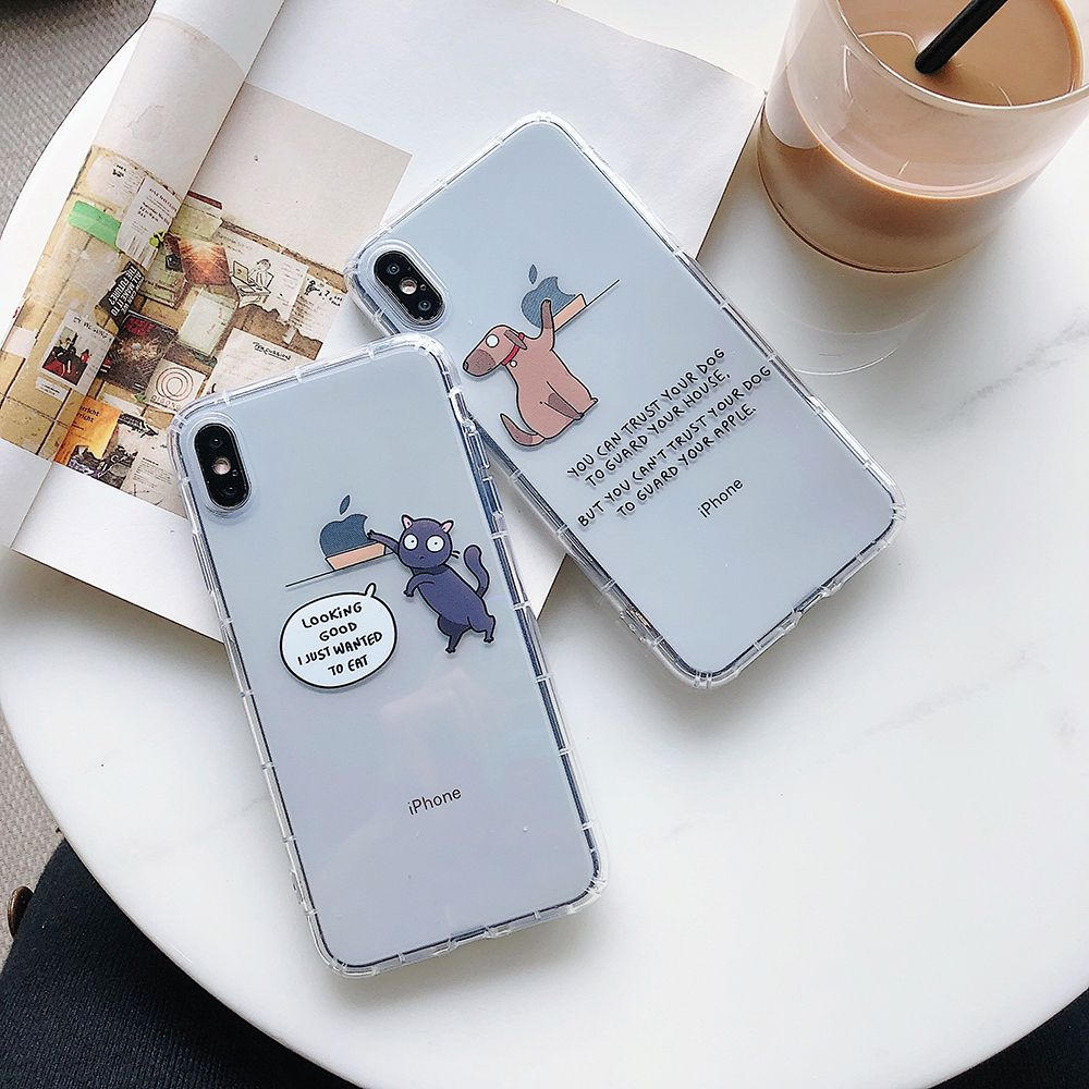 Cute Cartoon Dog Transparent Clear Soft Clear TPU Case Cover For iPhone 11 Pro Max XR X XS 6 6S 7 8 Plus