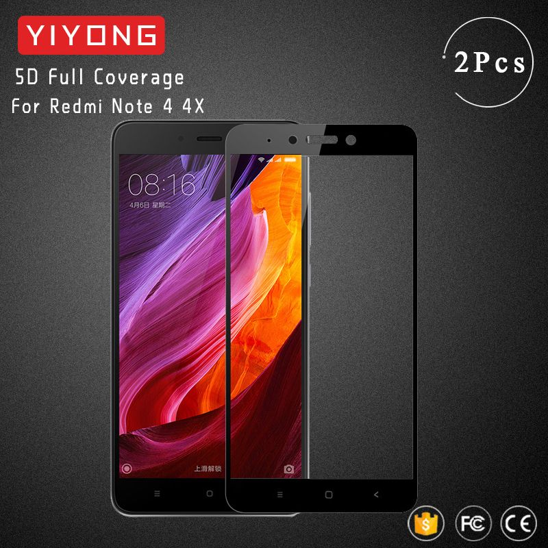 YIYONG 5D Full Cover Glass Xiaomi Redmi Note 4 Global Version Tempered Glass Screen Protector For Xiaomi Redmi Note 4X Pro Glass
