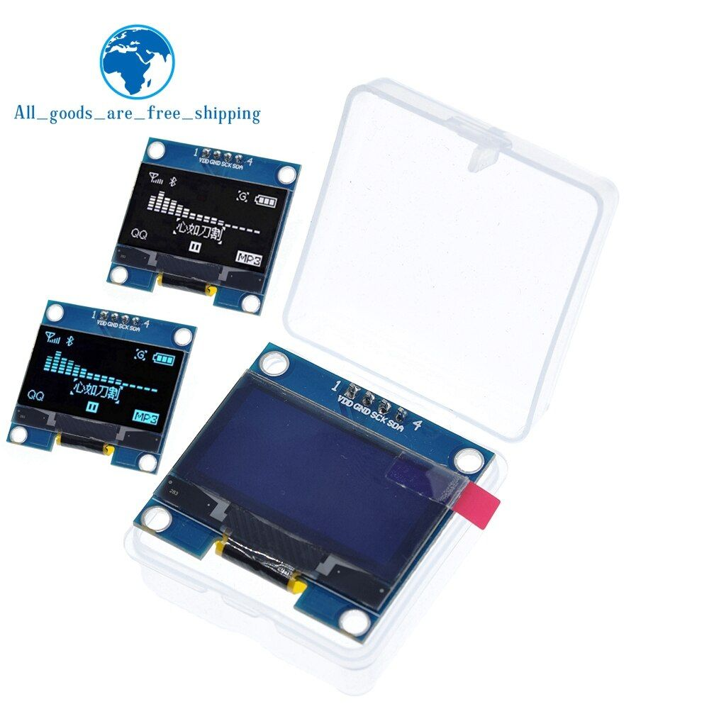 "4PIN 1.3 OLED module white/blue color 128X64 1.3 inch OLED LCD LED Display Module 1.3"" IIC I2C Communicate with Case"