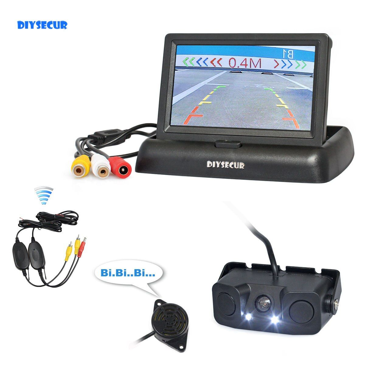 "DIYSECUR Wireless 4.3"" Car Reversing Camera Kit Back Up Car Monitor Video Parking Radar Sensor 2 in 1 Car Camera Parking System"