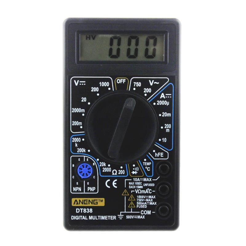 DT-838 LCD Digital Multimeter Electric Voltmeter Ammeter Tester AC/DC 750/1000V Amp Volt Ohm Portable Electric Multi Tester Tool