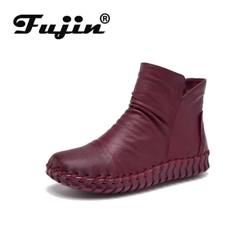 Fujin Fall Winter Autumn Fashion Boots Slip on Women Boots Botas Ankle Boots for Women Soft Genuine Leather Shoes Snow Boots