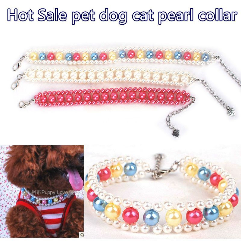 1pc 3 Colors Fashion Cat puppy Pet Dog  Pearl Necklace Pet Accessories Pet Cat Dog Collars Adjustable For Small Dog