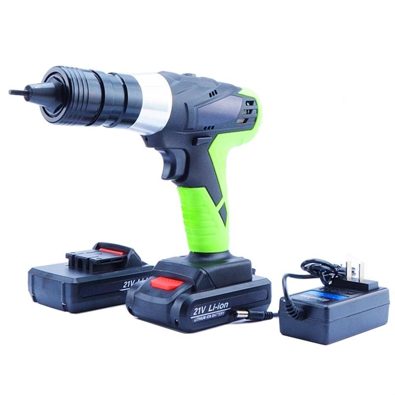 21v portable cordless electric rivet gun rechargeable riveter battery riveting tool pull rivet nut tool 2 battery M4/M5 head