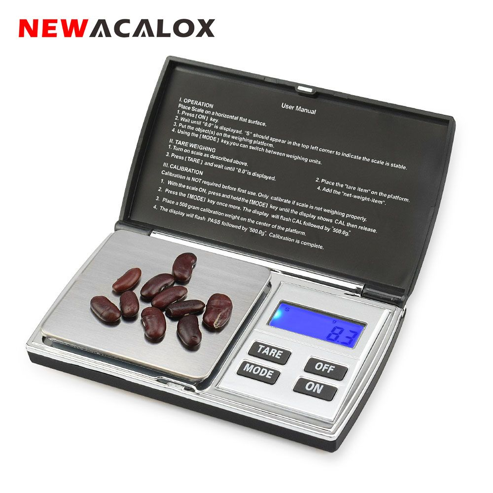 NEWACALOX 500g x 0.01g Digital Precision Scales for Gold Jewelry Scale 0.01 Pocket Balance Electronic Stainless Steel Scales