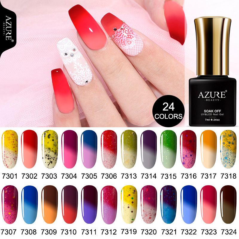 AZURE BEAUTY Chameleon Gel Polish Nail Gel Varnish Soak Off Nail Polish Semi Permanent Enamel Thermo Varnish 7ml Azure Nail Gel