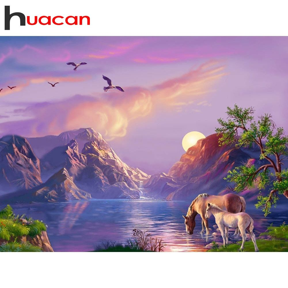 Huacan Diamond Embroidery Sale Scenery Rhinestones Pictures Diamond Painting Full Square Mountain Diamond Mosaic Cross Stitch