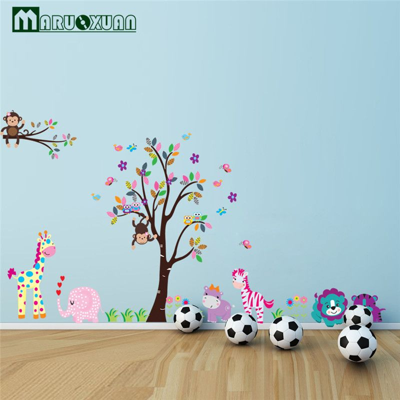 King Size Tree Animal Cartoon Owl Monkey Giraffe Elephant Wall Stickers For Kids Rooms Boys Girls Home Decor Wallpaper For Kids