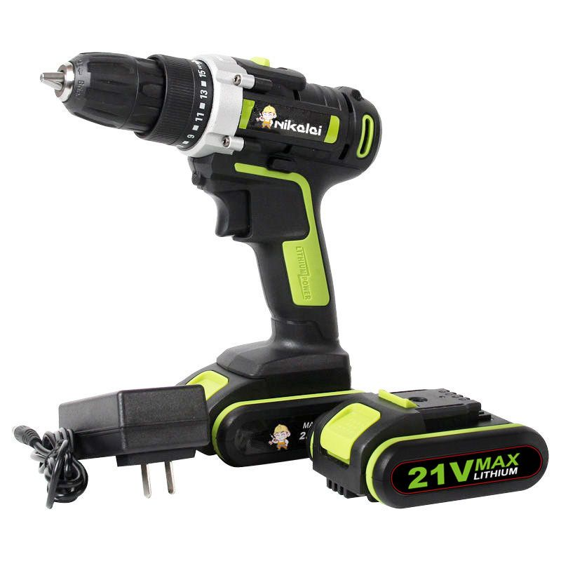 21v Lithium Battery*2 Cordless screwdriver Charging Electric Drill bits home Electric Screwdriver hand drill driver Power Tools