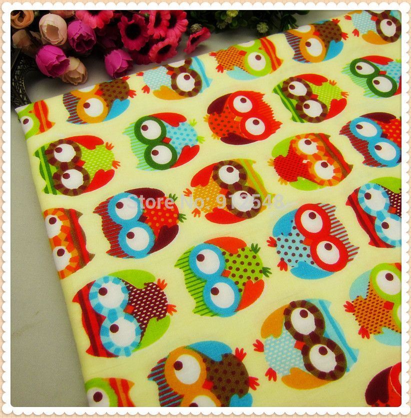 MB873,New arrival 50cm*150cm Cartoon Large owl, very popular Series cotton fabric, handmade patchwork cotton fabric home textile