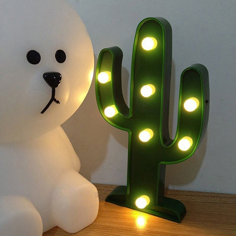 Lumiparty 3D Cute Cactus Light Lamp LED Decorative Baby Night Light Dim Mood Lamp 2AA Battery Operated Child's Room Deration