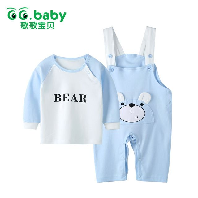 Winter Baby Suspender Set Baby Boy Bear Sets Clothing Long Sleeve Overalls For Baby Girls Cotton Suits Pajamas Baby Set Clothes