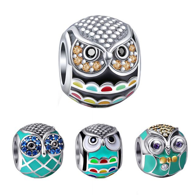 Fit Authentic European Bracelet Silver 925 Original 2018 Cute Animal Owl Charm Beads with Color CZ Enamel Jewelry For Women gift