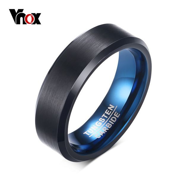 Vnox 6mm Blue Real Tungsten Carbide Rings for Men Jewelry Black Wedding Jewelry High Quality