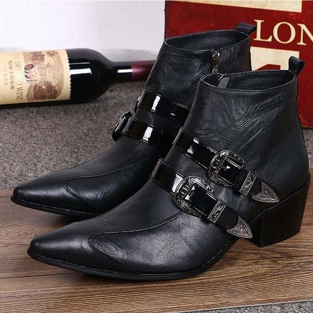 New Fashion Genuine leather Men Pointed Toe Buckle Dress Boots Height Increasing Shoes Men's High heels Motorcycle Ankle Boots
