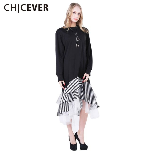 CHICEVER Asymmetrical Autumn Dress Female Ruffles Patchwork Women Dresses Long Sleeve Casual Midi T-shirt Clothes Big Sizes 2017