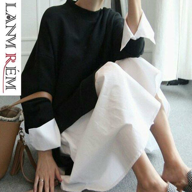 LANMREM 2019 spring Summer Fashion New O-neck full Sleeve Stitching False Two Pieces Loose Large Size Dress Woman AS20941