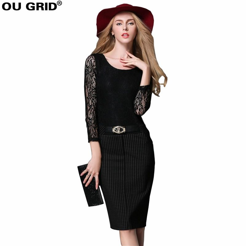 Women Black Lace Work Dress Patchwork Hollow Out Long Sleeve Lady Slim Sheath Office Dress Plus Size Pencil Dress With Belt